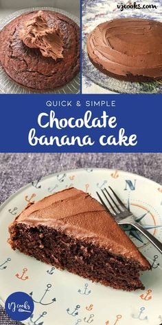 Quick and easy chocolate banana cake recipe by VJ cooks. Quick and easy chocolate banana cake recipe by VJ cooks. Banana Recipes, Easy Cake Recipes, Sweet Recipes, Pie Recipes, Dessert Recipes, Delicious Chocolate, Chocolate Recipes, Chocolate Cakes, Savoury Cake