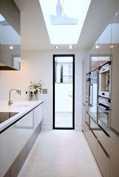 Sleek, fresh, clean, bright kitchen