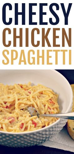 If you love cheesy chicken dishes then this cheesy chicken spaghetti will be a new go-to recipe. This is one of our family favorites. Huhn Spaghetti, Chicken Spaghetti Casserole, Chicken Spaghetti Recipes, Pasta Recipes, Chicken Recipes, Dinner Recipes, Casserole Recipes, Cheesy Chicken Pasta, Chicken