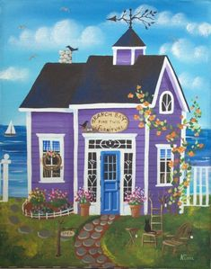 Etsy の Branch Bay Furniture Shop Folk Art Print by KimsCottageArt