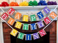 Rainbow Birthday Party Decorations - 1st Birthday Party Decor - Personalized Rainbow Birthday Banner - 2nd 3rd 6th 80th Birthday Decorations