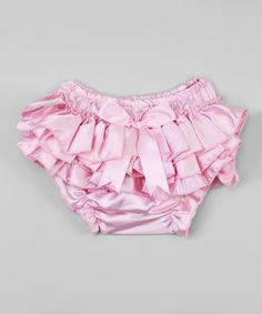 Loving this Pink Satin Ruffle Bloomers - Infant & Toddler on #zulily! #zulilyfinds