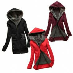Fashion Casual Women's Thicken Hoodie Coat Outerwear Jacket. I want the black one. Hint hint!!