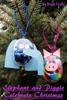 Elephant and Piggie Christmas Ornaments: crafts and dramatic play. Christmas ornaments inspired by the book. Elephant and Piggie by Mo Willems. Christmas Crafts For Kids To Make, Christmas Craft Projects, Christmas Ornaments To Make, Christmas Activities, Kids Christmas, Diy Ornaments, Merry Christmas, Winter Fun, Winter Wonder