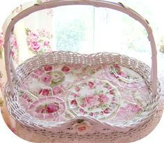 Mosaic wicker tray, shabby style, vintage limoges, antique china, pink roses. Romancing the rose studio     www.RomancingTheRoseStudio.com ©Website Design by: OneSpringStreet.NET 2011