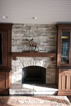 This faux or manufactured stone can dress up a brick fireplace that needs a refacing, and works well with a new wood mantel or TV with your new stone fireplace. Like this design? Visit us www.northstarstone.biz Design # code: Dry Stack Stone Fireplace 01