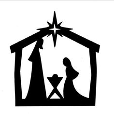 Easy Nativity Silhouette for Children; Joseph, Mary and Baby Jesus for Papercraft/Window/Template /Stencil /Mural. Nativity Clipart, Nativity Crafts, Christmas Nativity, Noel Christmas, Christmas Signs, Outdoor Christmas, Christmas Projects, Christmas Decorations, Christmas Ornaments