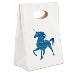 Blue Fire Unicorn Canvas Lunch Tote > Lunch Bags > Atteestude T-Shirts And Gifts  #school supplies