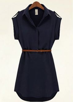 $18.93 Navy Blue Belted Mini Shirt Dress