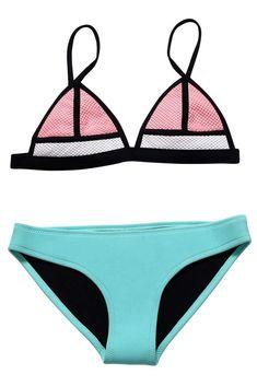 cf010c63b58 Contrast Color Splicing Triangle Top Bikini Swimwear