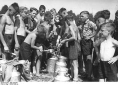 Meal time at a Hitler Youth camp, Germany, 1930s