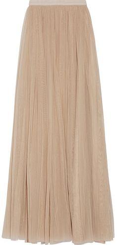 Needle & Thread - Tulle Maxi Skirt - Beige