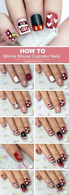 Cute Minnie Mouse Nails - Tutorial: Minnie Mouse nails - how to: http://sonailicious.com/cute-minnie-mouse-nails-how-to/