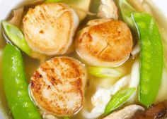 Light, fragrant and aromatic, this Japanese scallop soup features snow peas and mushrooms, as well as miso, for an authentic Japanese flavor.