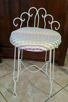 Vintage Iron Vanity Stool Bathroom Bath Bedroom Chair Bench Metal ...