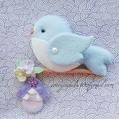Felt blue bird Passaro em felt #felting