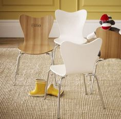Modern kids chairs - Arne Jacobson style at a GREAT price. They can be personalized too. Love!