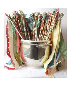 50 Boho Wedding Wands Fabric Streamers with by AlteredEcoDesigns