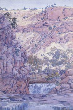 Albert Namatjira, Purple Gorge, watercolour, x 352 cm. Australian Painting, Australian Artists, Artist Painting, Watercolour Painting, Watercolors, Watercolor Landscape, Landscape Paintings, Picnic At Hanging Rock, Aboriginal Artists