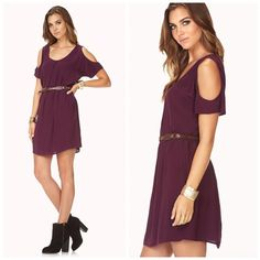 Cold Shoulder Shift Dress Eggplant purple. Worn a few times so has some slight signs of wear. Is a forever 21 contemporary dress. Belt is included. Belt is braided with a buckle closure. Signs of wear of belt are shown in photos. Shift dress featuring cutout shoulders. Unlined. 100% viscose. ❌No trades and no PayPal.❌ Forever 21 Dresses