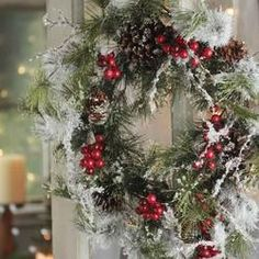 Iced Artificial Pine & Berry Twig Wreath