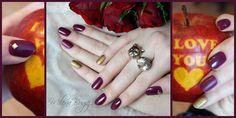 Holo Gold + mat + ćwieki <3 #nails #paznokcie #hybrydy #manicurehybrydowy #semilac #indigo #effect holo gold #efekthologold #efekt holo #ćwieki #złote #love #burgundy #burgund