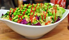 December Pantry Challenge: Big Salad with Low Fat Sesame Ginger Dressing and Edamame-Lime Brown Rice