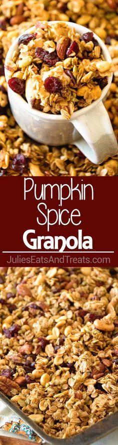 Homemade Pumpkin Spice Granola ~ Perfectly Crunchy, Easy Homemade Granola Recipe with the Perfect Amount of Pumpkin Spice, Crunchy Oats, Sunflower Seeds, Pepitas, Sunflower Seeds, Cranberries and Nuts! via @julieseats