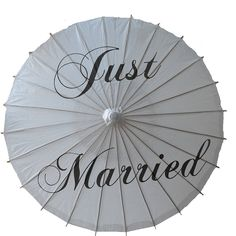 'just married' wedding paper parasol by clouds and currents | notonthehighstreet.com