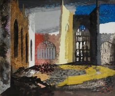 """""""Interior of Coventry Cathedral, 15 November 1940 by John Piper 1940 ( The day after the Coventry Blitz. Klimt, Your Paintings, Landscape Paintings, Landscapes, Watercolour Paintings, Watercolours, John Piper Artist, Coventry Cathedral, Urbane Kunst"""