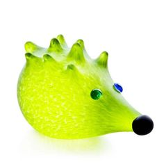 Nigel Hedgehog Paperweight: 24-03-23 in Lime Green, Hand-Blown Art Glass by Borowski Glass Studio