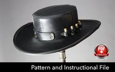 Leather Hat PATTERN DIY Pattern Steampunk hat DIY Pdf
