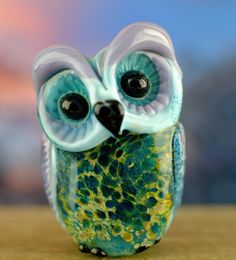 Guinivere...... lampwork owl bead...... sra by DeniseAnnette on Etsy