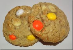 White Chocolate Candy Corn M&Ms Almond Oat Cookies at Baking and Boys!