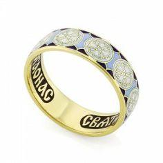 Православное кольцо с эмалью молитва ко свт. Николаю Чудотворцу из золота КЗЭ0803