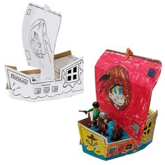 CALAFANT B2604X Decorate and Build Your Own Cardboard Pirate Ship