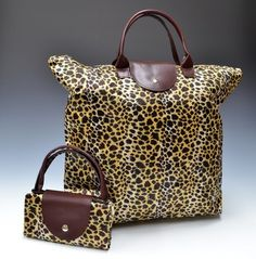 Fold-able Reusable Waterproof Shopping bag Leopard Print Pink Blue, Blue Green, Nail Bags, White Leopard, Longchamp, Shopping Bag, Purses And Bags, Reusable Tote Bags, Animal