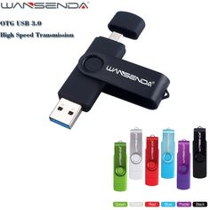 Hotsale WANSENDA D100 Android 3.0 OTG 128gb USB Flash Drive Pen Drive 8gb 16gb 32gb 64gb Pendrive Memory Stick External Storage