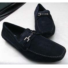 Buy Best Men Navy Blue Leather Wedding Prom Casual Dress Shoe Loafers SKU-1100072