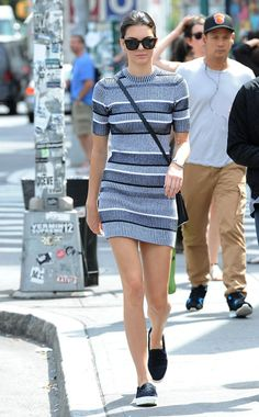 Kendall Jenner and how to wear the knitted dress in your summer-to-fall transition.
