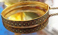 SOLD VTG 24k Gold Damascene Damasquina Arabesque Bangle Bracelet MIDAS TOLEDO SPAIN RV $175