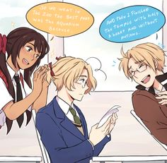 Part 1 of 2 || Hetalia- Look at my husband with cute little bows in his hair. I love you Canada~