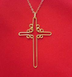 cross pendant  Wire crucifix charm