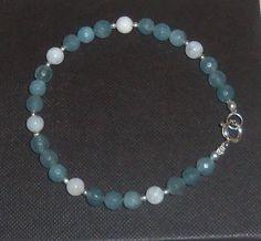Blue JADE and Rainbow MOONSTONE Gemstone Bracelet by PastsPresents, $13.00