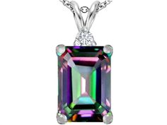 Star K Large 14x10mm Emerald Cut Rainbow Mystic Quartz Pendant Necklace