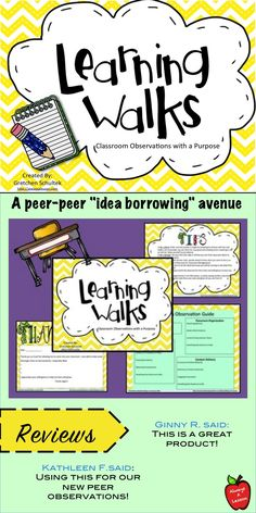 Use this learning walk guide to help you organize your visit to another teacher's classroom to get ideas for your own instruction. It includes tips on planning and organizing your time, note taking guide, and thank you letter. Co Teaching, Teaching Resources, Teaching Ideas, Classroom Observation, School Leadership, Educational Leadership, Math Coach, Instructional Coaching, School Staff