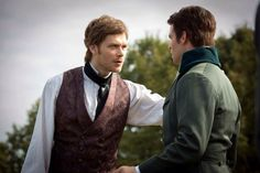 """The Originals -- """"The River In Reverse"""" -- Image Number: -- Pictured (L-R): Joseph Morgan as Klaus and Daniel Gillies as Elijah -- Photo: Bob Mahoney/The CW -- © 2013 The CW Network, LLC. All rights reserved The Originals Rebekah, Originals Season 1, Vampire Diaries The Originals, Joseph Morgan, Charles Michael Davis, Danielle Campbell, The Mikaelsons, The Cw, Character"""
