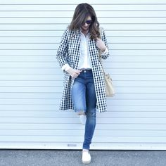 Wondering How to pull off a jcrew gingham trench coat on Art in the find. Click to read post