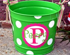 LIME GREEN 10 Quart Bucket - Easter Basket Pail -  Candy Bucket - Easter Bucket