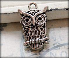 Owl Charms Tibetan Silver / Silver Owl Pendant / by BaublesOfFun, $2.75